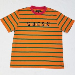 Guess X J Balvin Tour Striped Crew Orange Tee